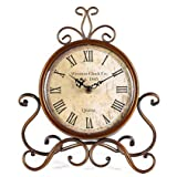 Vintage Retro Living Room Decorative Non-ticking Sweep Movement Numerals Study Room Round Table Desk Clock, Battery Operated 9.4″x2.6″x11″ Review