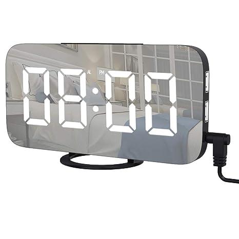AOGUERBE Reloj Despertador Digital, LED Despertador Electrónico Superficie del Espejo con Función Snooze y Dual USB Puertos de Carga 3 Niveles Brillos ...