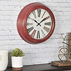 FirsTime & Co. Red Relic Wall Clock, 10, Distressed