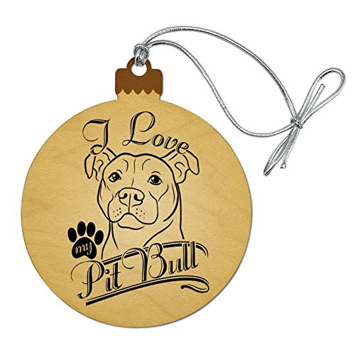 GRAPHICS & MORE I Love My Pit Bull Wood Christmas Tree Holiday Ornament (Pit Christmas Bull Ornament)