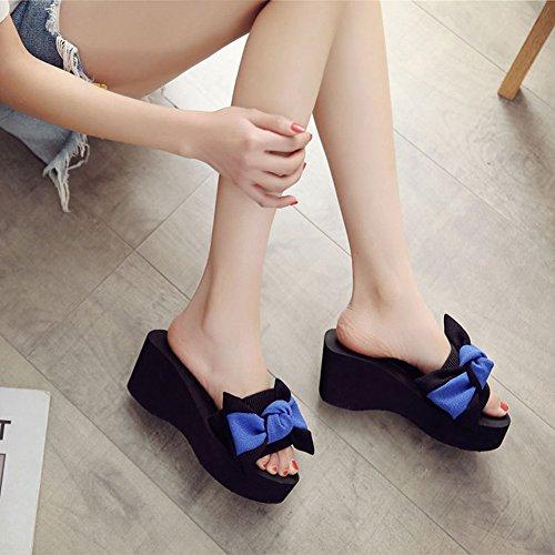 Btrada Women Bowknot Thick Bottom Sandals Wedge Slide Summer Anti-Slip Beach Platform Blue ozFMPAESW8