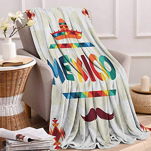 """ScottDecor Bed or Couch 62"""" x 60""""Mexican Throw Blanket Mexico Traditional Aztec Motifs and Sombrero Straw Hat and Moustache Graphic Print Print Artwork Multicolor"""
