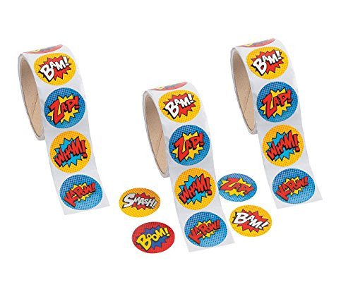 Superhero Sticker Roll - 300 STICKERS - BUY BULK AND SAVE !