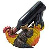 Home 'n Gifts Drinking Rooster Wine Bottle Holder Statue for Country Farm Kitchen Decor Tabletop Wine Stands & Racks and Decorative Gifts for Gamecocks Fans Multicolor