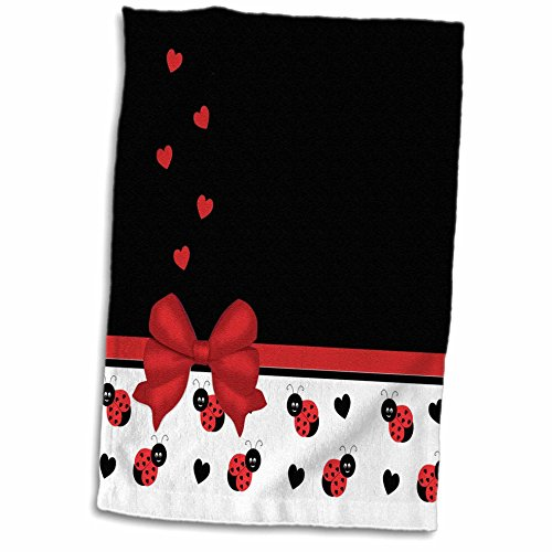 3D Rose Cute Black Ladybugs Floating Hearts Red Ribbon Towel, 15