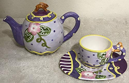 Homco Home Interiors Decorative Tea Set New in Box Tea Pot Cup Saucer Purple by Tuweep