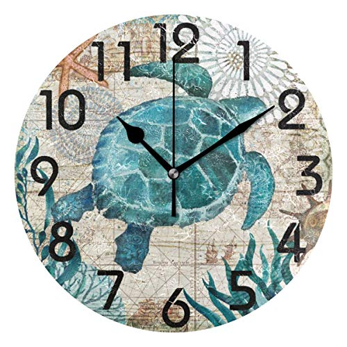 Naanle Chic Vintage Nautical Sea Turtle Starfish Old Map Round Wall Clock, 9.5 Inch Battery Operated Quartz Analog Quiet Desk Clock for - Turtle Clock Sea
