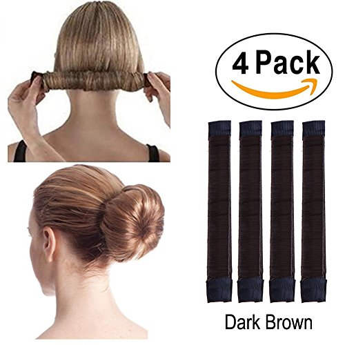 4 Pcs French Bun Maker Women Girls Kids Magic Hair Styling Donut Bun Maker Former Foam French Twist Hairstyle Clip DIY Doughnuts Hair Bun Tools (6#Dark Brown) by iWenSheng