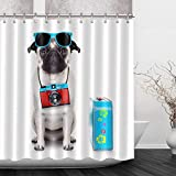 Franala Dog Go on a Trip Fashion Sunglasses Camera Flower Print Trunk Polyester Fabric Shower Curtain Sets with Hooks Creative Bathroom Shower Curtain