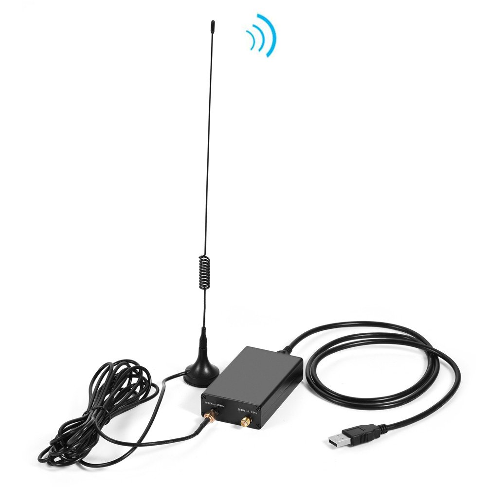 fosa 100KHZ ~ 1.7GHZ RTL-SDR Full Band Radio USB Tuner Receiver Set w/OTG Data Cable& Antenna, RTL2832U & R820T2 Tuner, Support AM, FM (NFM, WFM), CW, DSB, LSB, USB Demodulation