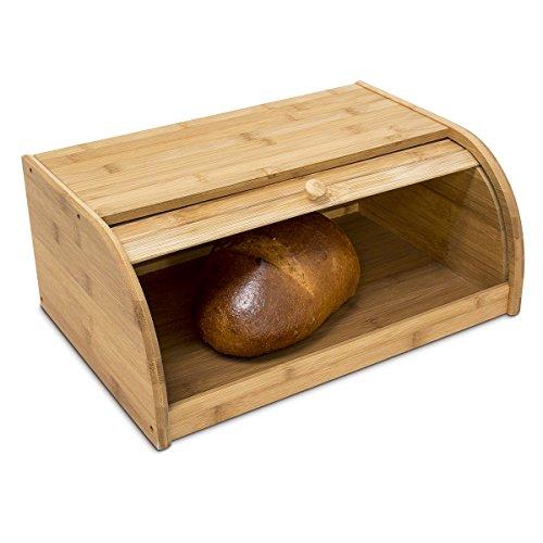 Relaxdays Brotkasten Bambus HBT: 16,5 x 40 x 27,5 cm Rollbrotkasten für aromadichte Brot Aufbewahrung Brotkiste mit Rolldeckel als Brottrommel oder Brotwächter für Brötchen und Gebäck, natur