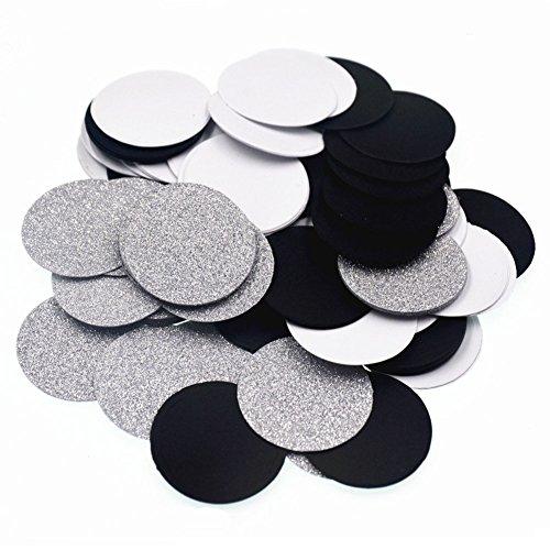 Glitter Paper Circle Dots Confetti Wedding Birthday Theme Party Table Decoration Glitter Silver, Black and White, 1.2 inch, (Silver And White Decorations)
