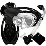Promate Snorkeling Set with Fins Snorkel Mask Mesh Bag, Clear/Black, Small