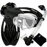 Promate Snorkeling Set Scuba Dive Gear Snorkel Mask Diving Fins Set, Clear/Black, Medium/Large/X-Large