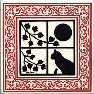 product image for CAT Tile - CAT Wall Plaque - CAT TRIVETS with Ruby Victorian Border