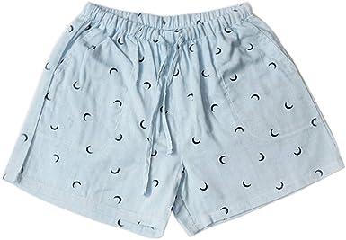 Pantalones cortos de pijama de algodón transpirable para mujer Pantalones de pijama de cintura elástica - Azul: Amazon.es: Ropa y accesorios