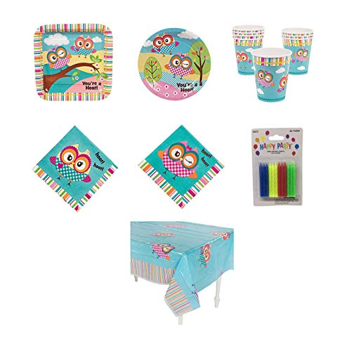 THE UM24 Owl Party Kit - Birthday Party Supplies Set Owl Theme Dinner, Dessert Plates and Lunch, Beverage Napkins and Cups and Tablecloth]()