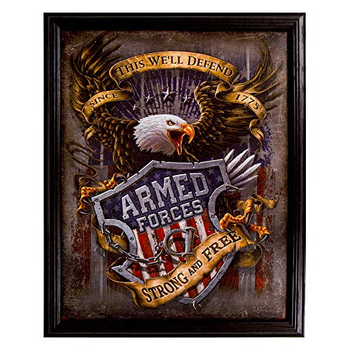 Armed Forces Eagle Tin Sign 14 x 17.5 in Framed by for sale  Delivered anywhere in USA