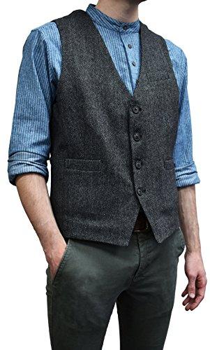 Lee Valley - Men's Irish Wool Tweed Vest, (Durrow Grey Herringbone, 2XL) ()