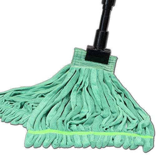Large Microfiber Tube Mop with Stainless Steel Handle | Industrial Wet Mop | Absorbent and Durable with Great Cleaning Power (Green)