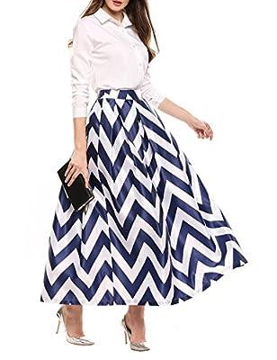 Meaneor Maxi Skirt Women's White Contrast Polka Dot Print Flared Skirt