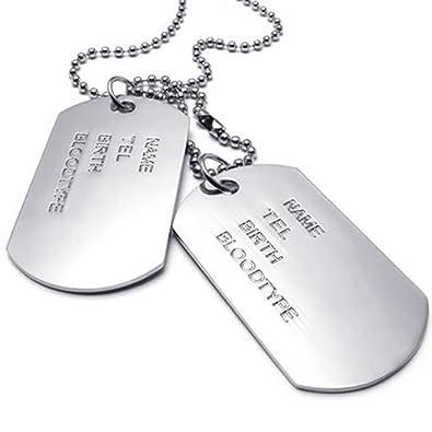 KONOV Bijoux Pendentif Collier Homme - Chaîne 68 cm - Plaque militaire Nom  Prénom - Dog 3dbde16086ac