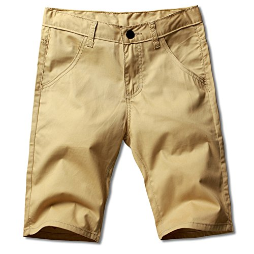 LOCALMODE Men's Classic Front Flat Fit Chino Short Khaki 34 (Casual Khaki Shorts)
