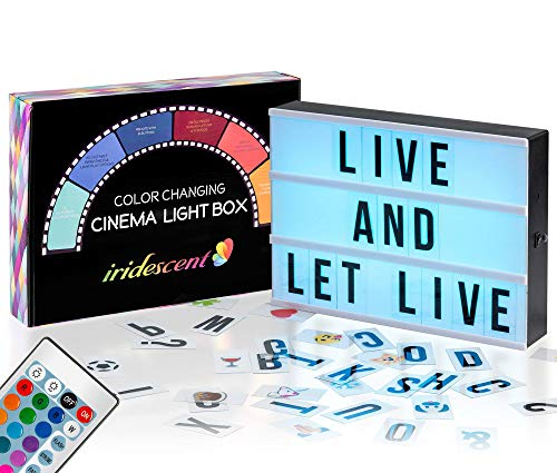 Color Changing Cinema Light Box with Letters - 228 Total Letters, Numbers & Emojis | 16 Colors Remote-controlled PREMIUM Cinematic Marquee Sign Light Box | NEW for 2018! LED Light Up Letter Box Sign
