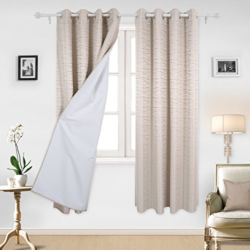 Deconovo Grommet Thermal Insulated Curtains Stripe Jacquard Total Blackout Curtian Panels with Triple-pass White Coating Back Layer For Bedroom Beige Two Curtain Panels 52 X 84 Inch