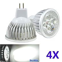 Bao Xin ] LED MR16 Daylight 6000k Bulbs 4w 12V Perfect for Replacing Standard 12V 50W Halogen Spotlight Bulbs Energy Saving and Soft Lighting (4 Pieces)