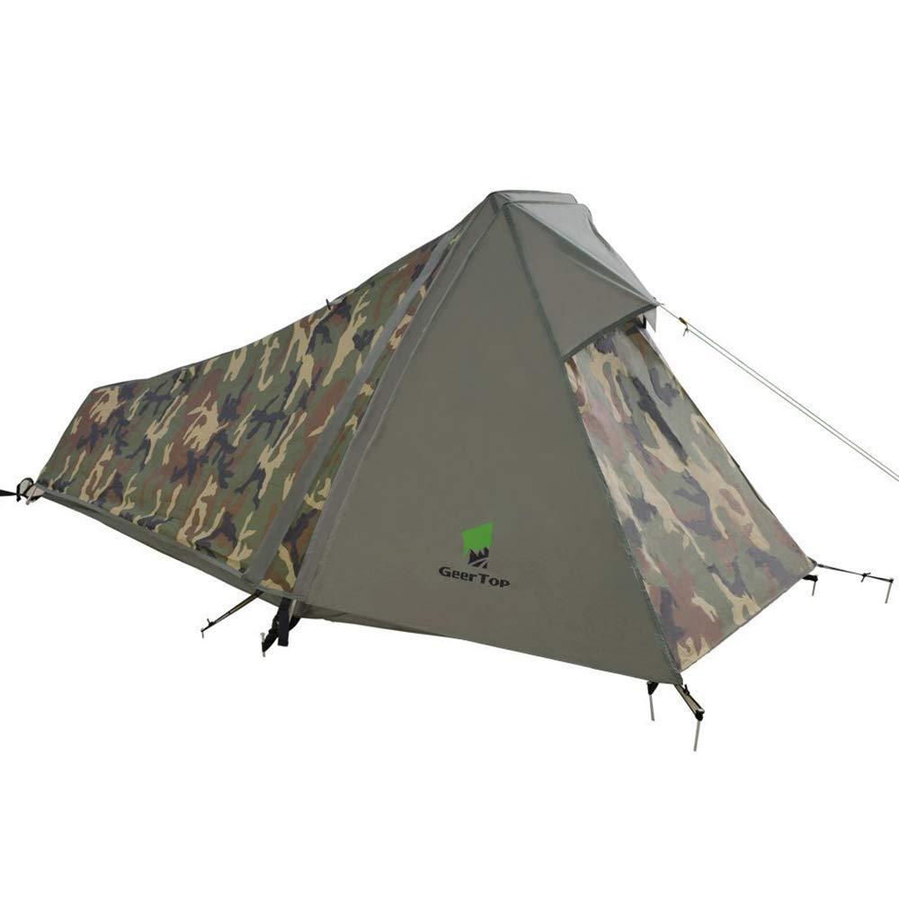 屋外のキャンプテント、1人3-4シーズン軽量アルミポールバックパック、雨の日焼け止め防水、ピクニックビーチ公園の芝生フィールド観光ハイキングに適した   B07R4DLQKK