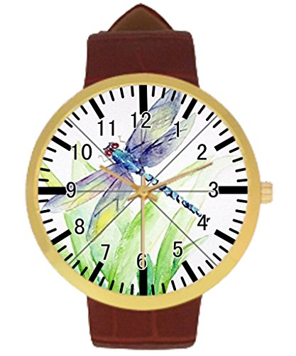 Bowl Custom Dragonfly Womens Golden Leather Strap Watch Generic Water Resisting Womens Watch
