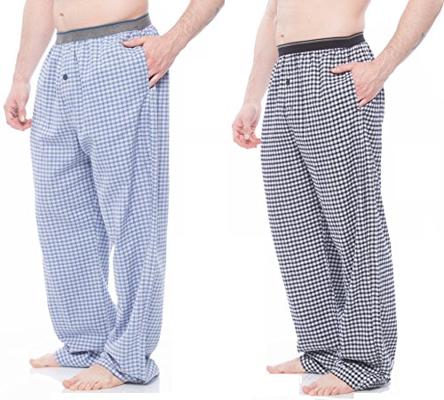 Men's Cotton Flannel Pajama Pant with pockets, Assorted 2-Pack L (I Feel Good Button compare prices)