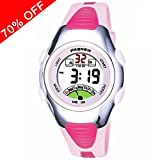 Viliysun Child Watch 30M Waterproof Sport LED Alarm Stopwatch Digital Kid Wristwatch for Boy Girl Pink