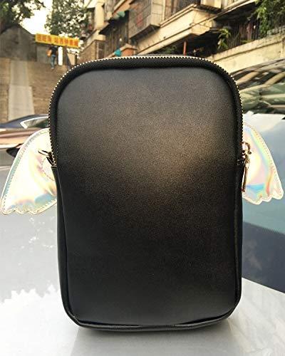 à maximale mode personnalité bandoulière Longueur sac Noir lt;20cm lettre ailes joli rabat Mini dames chaîne sac Messenger bourse d'embrayage mini jeu forme fun de laser Pnizun TISqaT