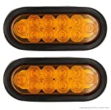 PEAKTOW PTL0432 Oval 6 Inches Amber LED Submersible Stop/Turn/Tail Trailer Truck RV Lights Including Grommets and Plugs Pack of 2