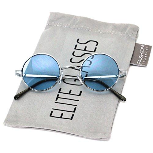 John Lennon Hipster Fashion Sunglasses Small Metal Round Circle Elton Style (Blue, 40)