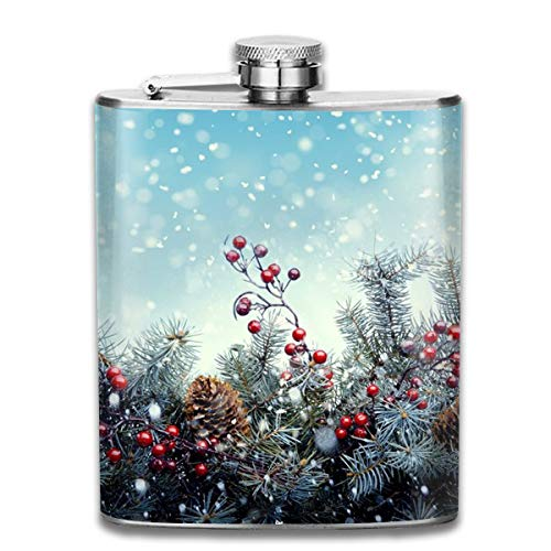 Laki-co Christmas Snow Wallpaper Hip Flask for Liquor Stainless Steel Bottle Alcohol 7oz