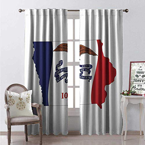 Hengshu Iowa Blackout Window Curtain The Hawkeye State Map and Flag Bald Eagle Carrying Streamer Beak Customized Curtains W120 x L108 Cobalt Blue Vermilion and White ()