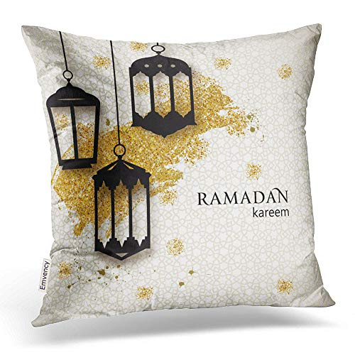 Emvency Throw Pillow Covers Ramadan Kareem Paper Cut Arabic Lamps Festive Ramadan Greetings Design Decor Pillowcases Polyester 20 X 20 Inch Square Hidden Zipper Home Cushion Decorative Pillowcase