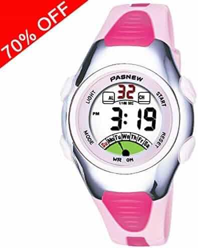 Viliysun Child Watch 30M Waterproof Sport LED Alarm Stopwatch Digital Kid Wristwatch for Boy Girl Pink