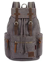 Leaper Vintage Canvas Backpack Casual Rucksack (Gray)