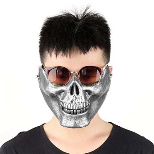 3pc of set Black and White Adult Ghost Skull Skeleton Clothes Halloween Cosplay Costume FU Silver