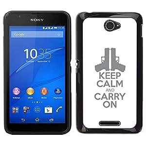 // PHONE CASE GIFT // Duro Estuche protector PC Cáscara Plástico Carcasa Funda Hard Protective Case for Sony Xperia E4 / handgun pistol poster stylish white /