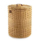 The Basket Lady Round Wicker Laundry Hamper, Extra-Jumbo, 23 in Dia x 28 in H, Toasted Oat