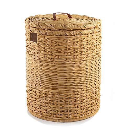 The Basket Lady Round Wicker Hamper | Wicker Laundry Hamper, Extra-Jumbo, Toasted Oat