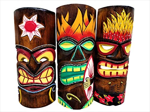 "All Seas Imports Set of (3) Wooden Handcarved 12"" Tall Tiki Masks Tropical Wall Decor!"