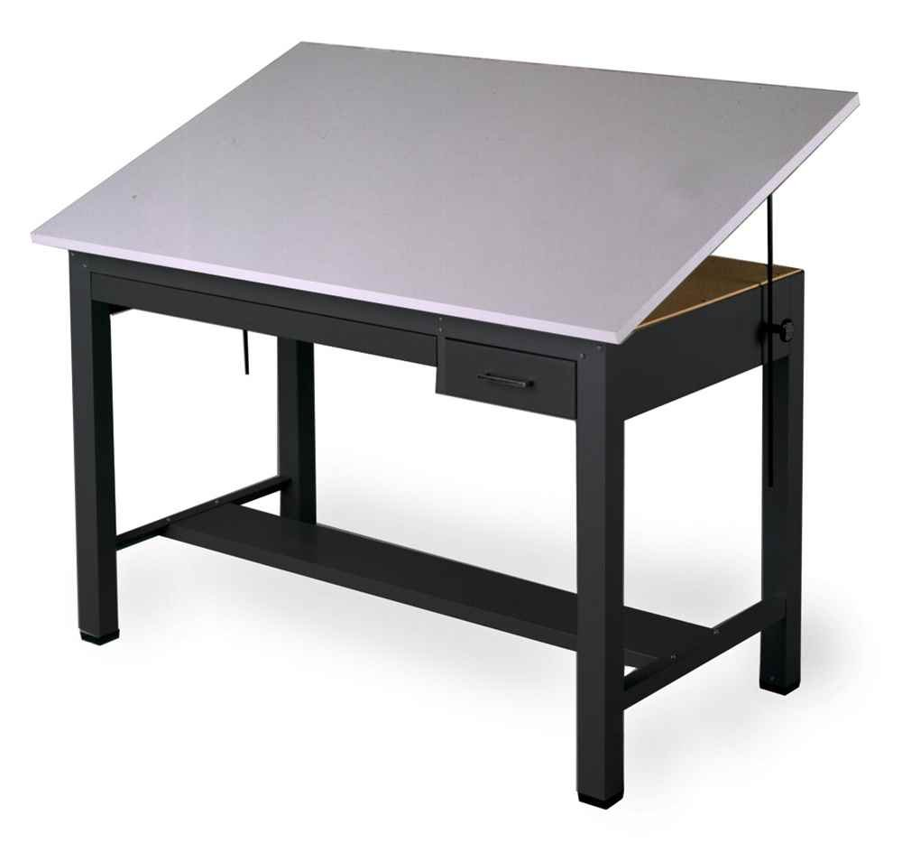 Economy Ranger Four Post Table in Black w Shallow Drawers (Small)