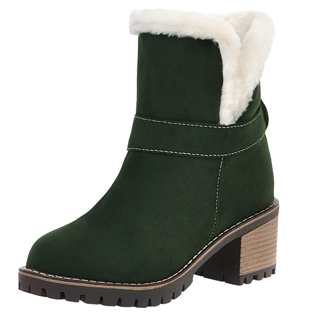 Kauneus Snow Boot for Women Fully Fur Lined Stacked Low Heel Warm Ankle Boot Comfortable Slip-on Shoes Winter Boot by Kauneus Fashion Shoes