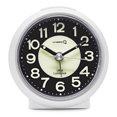 U-needQ Matte Colorful Non Ticking Analog Quartz Alarm Clock with Luminous Clock Dial, 5 Minutes Snooze, Light Night - Small Size, Light Weight, Easy to Use, Perfect for Travel and Kids (White)